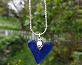 English Genuine Sea Glass Heart Pendant