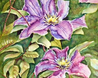 Clematis Original Watercolor Painting, purple, violet, green, flowers, 11x14, floral, botanical, wall art