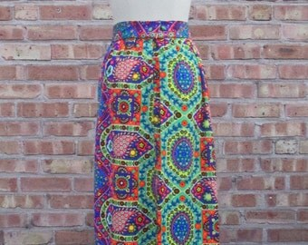 1960s psychedelic hippie SKIRT spirals mandala maxi skirt festival floral folk boho vintage // size: M / Small