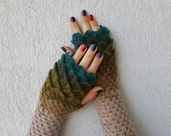 Fingerless Gloves Crochet Shell Trim Knit arm warmers romantic lace fingerless gloves gift for her Fall Mittens Womens Gloves Wrist Warmers
