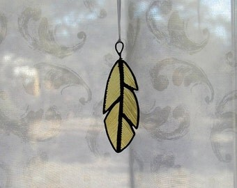 Golden Feather,Stained Glass, Suncatcher,Wings, Holiday Gift Idea,Art & Collectibles,Glass Art, Christmas Ornament,Glass Feathers,Decorative