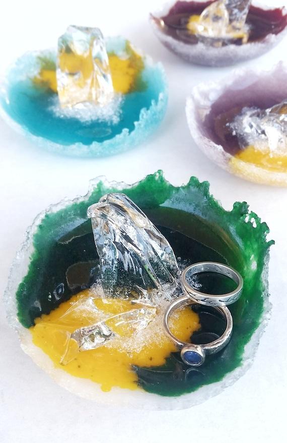 Green Glass Ring Dish