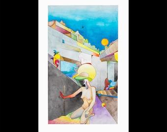 New York, Original colorful watercolor drawing giant drawing, Human anatomy figure surrealist vivid city art, Nude Woman pop art, NYC artist