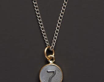 Necklaces for Men - Numerology - Number 7 Necklace - Personalized Men Jewelry - Mens Jewelry - Number Seven Pendant - silver chain for men