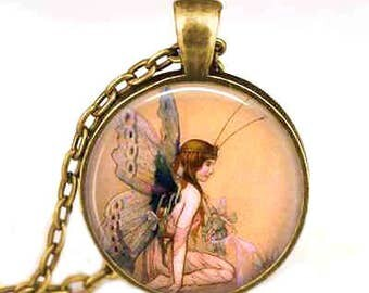 Butterfly Fairy Glass Cabochon Pendant Necklace