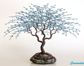 "Blue Wire Tree Beaded Bonsai Sculpture 7.5"" - MADE TO ORDER Custom"