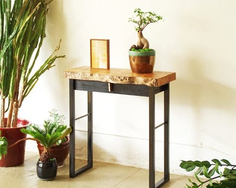 live edge console - hall table - entry table - industrial modern console from urban salvage wood and recycled steel - desk with drawer