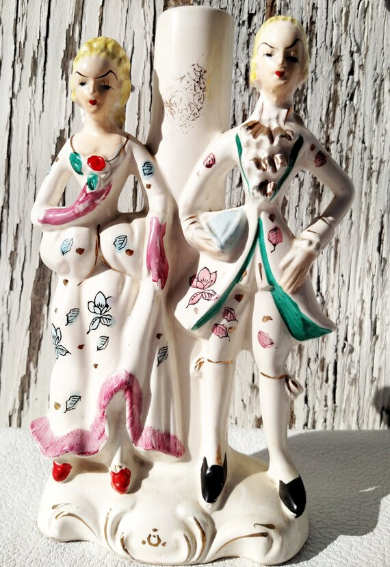Vintage 1950's Ceramic Piece with French Rococo Couple