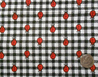 Black and White Gingham with Red Ladybugs Fabric