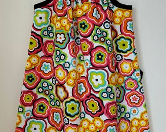 One-of-a-Kind Bright Floral Black + White Damask  Pillowcase Dress (2T/3T)