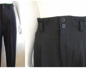 Vintage 1980s Men's Pants High Waist Side Buckle Black Wool Japanese Designer Matsuda