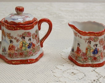 Vintage Sugar Creamer Porcelain Geisha Girl Hand Painted JAPAN