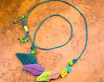 CHOKER Necklace Leaf Necklace Adjustable Beaded Necklace Gift for Her Handcrafted Blue Green Necklace Teal Pink - Nature Necklace - srajd