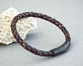 Mens Leather Bracelet Braided Bracelet Boyfriend Gift Mens Leather Jewelry Jewelry for Him