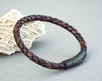 Mens Leather Bracelet, Braided Bracelet, Boyfriend Gift, Men's Leather Jewelry, Jewelry for Him