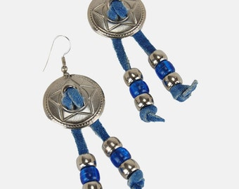 CONCHO Blue FRINGE Leather BEADED Earrings Vtg 70's Silver Suede Western Cowgirl Southwestern Country Boho Bohemian Hippie French Ear Wire