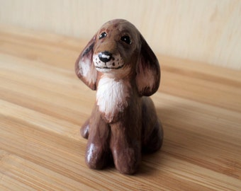 Miniature dog, paper clay sculpture, animal figurine, dog totem, hand sculpted figurine #114