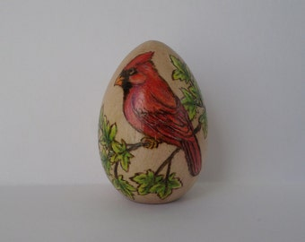 decorated Easter egg, cardinal egg, red bird, personalized easter egg, pyrography, wood burning art