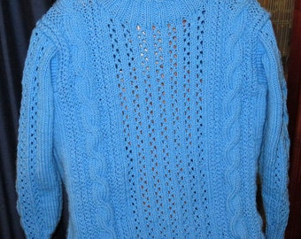 """Bright Sky Blue Fits 34-38"""" Chest - Hand Knit Cables and Filigree Adult Unisex Sweater Jumper - Year Round Smart Casual Sweater - Item 4844"""