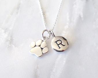 Silver Paw Print Necklace - Personalized Jewelry - Pet Jewelry - Silver Necklace