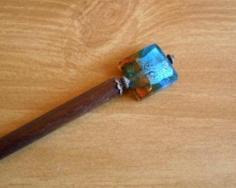 Sunset Beginnings - Copper and blue lampwork glass hair stick, beaded hairstick, long hair, haarstab,