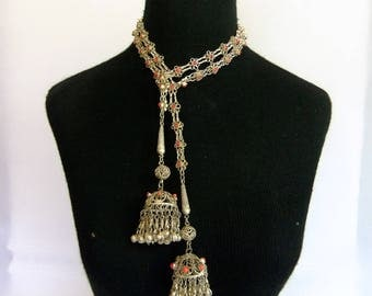 Vintage Boho Sautoir, Necklace, Lariat or Belt - Silver Tone Metal, Bookchain, Long Metal Tassels, Clamshell Bells, Inlaid, made in India