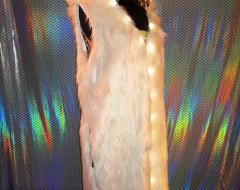 Burning Man LED Light Up Hooded Unisex Reversible White Faux Fur Psychedelic One of a Kind Long Vest