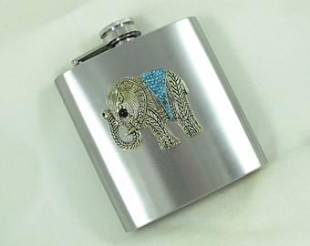 Flask Stainless Steel 6 Ounces Elephant With Aqua Rhinestone Flask for Womens  Handmade