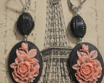 CORAL ROSES vintage ANTIQUE assemblage earrings