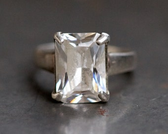 Large Solitaire Ring - Crystal Rock Sterling Silver Ring Size 9 - Vintage Art Deco Jewelry