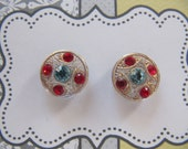 Rhinestone post earrings from vintage glass buttons, blue red button earrings, small hypoallergenic sensitive ear studs, 14 mm studs