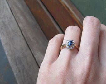 Antique Sapphire and Rose Cut Diamond Halo Engagement Ring in 18k Yellow Gold