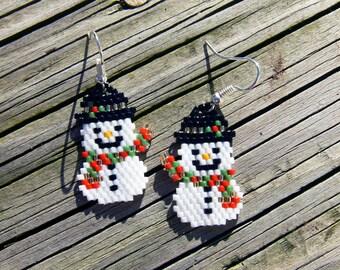 Handmade beaded Snowman earrings