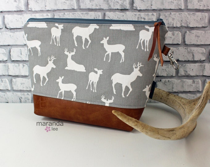 AVA Clutch -Large - Grey Deer with PU Leather Cosmetic   Diaper bag Travel Make Up Zipper Pouch