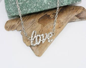 "Silver Plated ""Love"" Necklace with rhinestones - Item 1925"