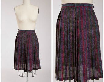 1950s Vintage Skirt • Paisley Day • Purple Green Printed Voile 50s Pleated Skirt Size Small