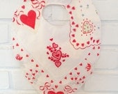 Valentine's Day Handkerchief Baby Bib Hearts and Flowers Hanky Bib for Baby