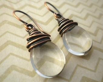 Czech Glass Teardop Earrings - Clear Glass & Copper Wire Wrapped Earrings