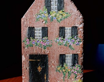 Rustic, White Washed Brick Cottage Bookend