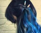 Crystal hair pin, quartz crystal hairpin, raw crystal hairpin, clear quartz hairpin, quartz hair accessory, aqua aura quartz hair pin
