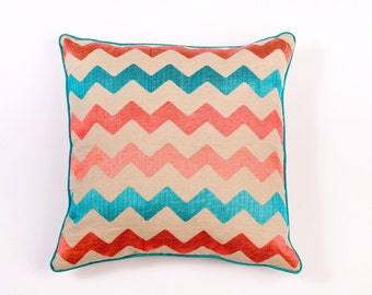 Ikat and Suzani All Chevron Linen Pillow Cover