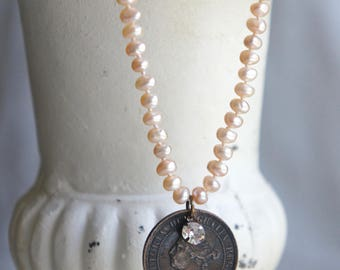 Victoria's Passion- Pink pearl necklace vintage coin necklace Queen Victoria coin assemblage jewelry F597-by French Feather Design.