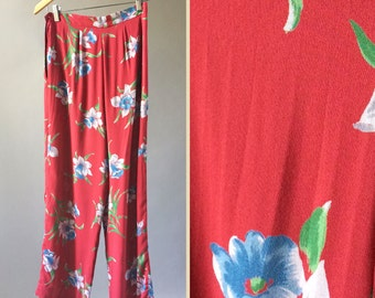 Vintage Ralph Lauren Palazzo Pant 90s Does 1930/40s Tiki Flower Print Rayon Beach Pajama Pants