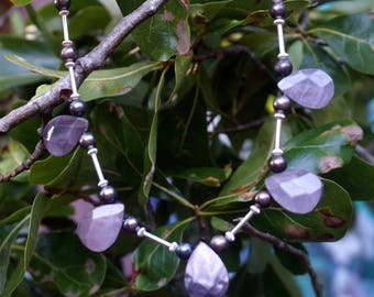Grey Shell Teardrop Beads with Freshwater Pearls and Sterling Silver