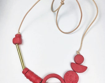 Shape & Balance Necklace- Electric Red