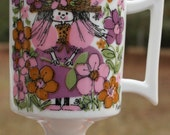 Vintage Kitschy MCM Raggedy Ann by Kathy K Footed Coffee Tea Mug 1960s 1970s 70s 60s Pink Orange Green