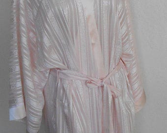 Vintage Dressing Gown Pink Satin Robe Oscar de la Renta XL