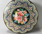 Daher Tin Container, Colorful Mosaic Tin, Round Tin, Cookie Tin, Tea and Biscuit Tin, Floral Tin
