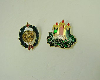 Vintage ENAMEL CHRISTMAS PINS Set/2 Angel Wreath & Holly Candles Holiday Pin Jewelry Gift