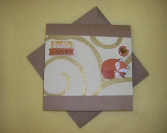 Hello Gorgeous Handmade Square Card with Fox - Recycled Handmade Paper and Kraft Paper blank card greeting card
